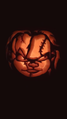 Chucky the doll carved into a pumpkin by Colin Young. Pic Hugh Young.
