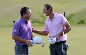 KAVARNA, BULGARIA - MAY 18:  Graeme McDowell of Northern Ireland beats Nicolas Colsaerts of Belgium during the quarter final matches on day three of the Volvo World Match Play Championship at Thracian Cliffs Golf & Beach Resort on May 18, 2013 in Kavarna, Bulgaria.  (Photo by Ross Kinnaird/Getty Images)