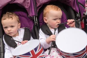Twins Evie and Abbie Spence from Newtownstewart pictured in Donemana on the 12th of July 2019. Picture Martin McKeown.