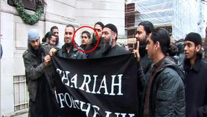 Abu Rumaysah (ringed, fifth left), formerly known as Siddhartha Dhar. PA Video/PA Wire