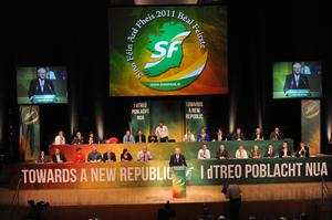 Pacemaker Press 9/9/2011 Martin McGuinness addresses  Sinn Fein's Ard Fheis  at Belfast's Waterfront Conference Centre for a two day event. The Presbyterian minister from Derry,  was  invited to speak at the conference by Sinn Fein's Martin McGuinness.. It was the first time a Presbyterian minister will have addressed the ard fheis Pic Colm Lenaghan/Pacemaker