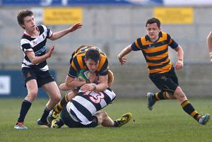 17th March 2015   ?William Cherry/Presseye  RBAI?s James Hume with Wallace High School?s Andrew Cardosi during the Danske Bank Ulster Schools? Cup final at the Kingspan Stadium.
