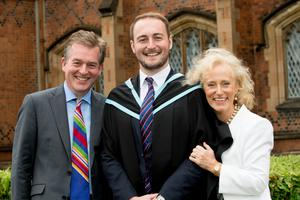 Celebrating graduation success from Queen's University Belfast today is James Carruthers, who graduated with a degree in Business Management from Queen's Management School. James is pictured with his parents Mark and Alison Carruthers.
