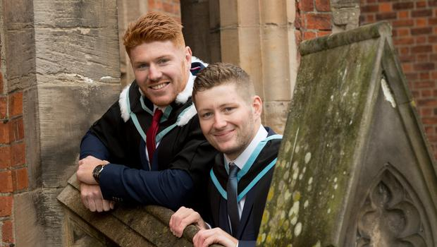 Celebrating graduation success today at Queen's University Belfast are brothers, Kieran and Connor Joyce, who both graduated from Queen's Management School.