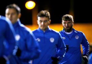 Finn Harps' Paddy McCourt warms up for his final game.