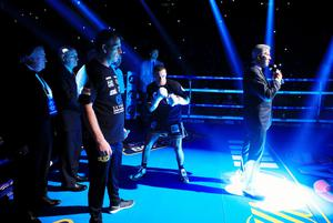 Scott Quigg (centre) in the ring before his IBF & WBA World Super-Bantamweight Championship bout against Carl Frampton at Manchester Arena.