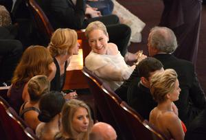 Julia Roberts, left, and Meryl Streep are seen in the audience at the Oscars at the Dolby Theatre on Sunday, March 2, 2014, in Los Angeles.  (Photo by John Shearer/Invision/AP)