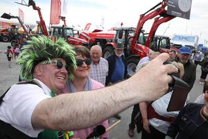 PressEye-Northern Ireland- 15th May  2019-Picture by Brian Little/PressEye  DUP Leader Arlene Foster stops for a selfie  at Balmoral Park during the first day of the Balmoral Show 2019 Picture by Brian Little/PressEye