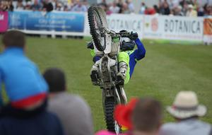 PressEye-Northern Ireland- 15th May  2019-Picture by Brian Little/PressEye  Stunt motorcycle rider performing  at Balmoral Park during the first day of the Balmoral Show 2019 Picture by Brian Little/PressEye