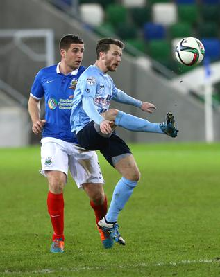 Press Eye - Belfast -  Northern Ireland - 12th January 2016 - Photo by William Cherry  Linfield's Mark Haughey with Ballymena's Willie Faulkner during Tuesday's County Antrim Shield final at Windsor Park, Belfast.