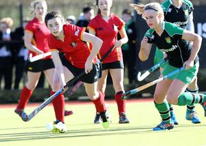 ?Press Eye Ltd - Northern Ireland - 4th March 2015. Mandatory Credit - Photo by Andrew Paton/Presseye.com. The Belfast Telegraph Senior Schools Cup Final - Sullivan Upper v Banbridge at Lisnagarvey Hockey Club. Ora Thompson of Banbridge and Katharine Hill of Sullivan