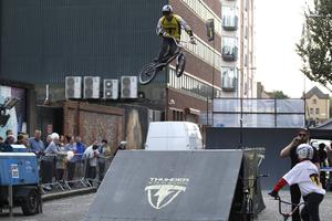 BMX cyclists entertain the public with their tricks during culture night in Belfast city centre. Picture by Peter Morrison