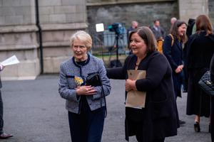 Widow Patricia Hume (left) arrives for the funeral of her husband John Hume at St Eugene's Cathedral in Londonderry. PA Photo. Picture date: Wednesday August 5, 2020. Hume was a key architect of Northern Ireland's Good Friday Agreement and was awarded the Nobel Peace Prize for the pivotal role he played in ending the region's sectarian conflict. He died on Monday aged 83, having endured a long battle with dementia. See PA story FUNERAL Hume. Photo credit should read: Stephen Latimer/PA Wire