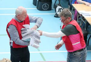 The count gets under way at Lisburn Leisure Plex count centre for Lagan Valley and South Down candidates. Press Eye - Lagan Valley Count Centre - 6th May 2016 Photograph By Declan Roughan