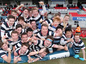 @Press Eye Ltd Northern Ireland- 5th March   2015 Mandatory Credit -Brian Little/Presseye  Wallace High School   team celebrate after defeating Methodist College 12-10    during Thursday's Ulster School's Cup semi final at Kingspan Stadium, Belfast. Picture by Brian Little/ Presseye