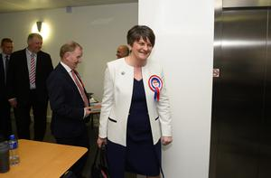PACEMAKER PRESS 06/05/2016.  2016 Northern Ireland Assembly Election.  Votes are counted at Omagh Leisure centre as Voters took to the polls across Northern Ireland. Pictured is DUP party leader Arlene Foster arriving at the count centre in Omagh. PICTURE MARK MARLOW/PACEMAKER PRESS