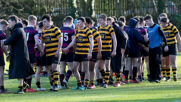 PACEMAKER PRESS BELFAST  8/2/2020  RBAI v BRA Schools Cup Rugby   Celebrations for RBAI after todayÕs match at Osborne Park, Malone Road.  Photo Laura Davison/Pacemaker Press