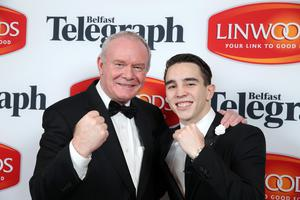 Deputy First Minister Martin McGuinness with boxer Michael Conlan pictured at the awards night. Picture by Kelvin Boyes/ Press Eye