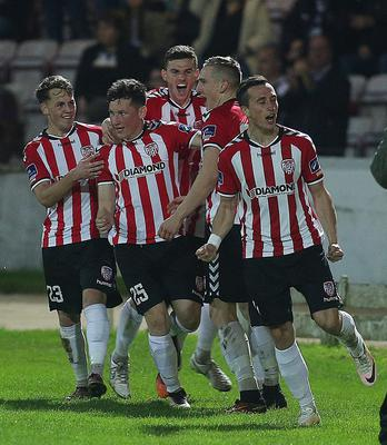 Derry Ronan Curtis celebrates his opening goal.  Mandatory Credit Photo Lorcan Doherty / Presseye.com