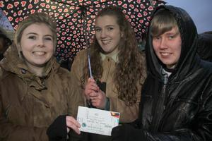 29-02-2016  Adele fans at the SSE Arena Belfast for the Brit Awards winner first night of her new tour.  Niamh Murphy. Meabdh O'Grady and Brianna O'Grady. Picture Colm O'Reilly /Presseye