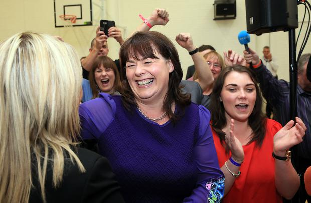 Press Eye - Belfast - Northern Ireland - 8th June 2017 - Westminster General Election 2017.   Michelle Gildernew celebrates at the election count at Omagh Leisure Complex Omagh for West Tyrone and Fermanagh & South Tyrone. Photo by John McVitty / Press Eye.