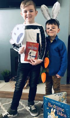 Kaidn dressed as Wimpy Kid and Jaxon dressed as Peter Rabbit. From Warrenpoint.
