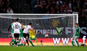 Germany's Julian Draxler scores his side's first goal of the game during the 2018 FIFA World Cup Qualifying match at the HDI Arena, Hannover. PA