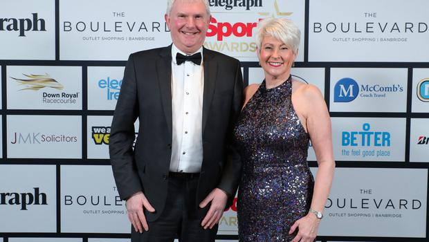 Press Eye - Belfast - Northern Ireland - 20th January  2020   Alan Graham and Pamela Ballantine pictured at the 2019 Belfast Telegraph Sport Awards at the Crowne Plaza Hotel in Belfast.  Photo by Kelvin Boyes / Press Eye.