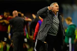 Manchester United's Portuguese coach Jose Mourinho gestures as he celebrates their opener during their UEFA Europa League semi final first leg football match RC Celta de Vigo vs Manchester United FC at the Balaidos stadium in Vigo on May 4, 2017. / AFP PHOTO / MIGUEL RIOPAMIGUEL RIOPA/AFP/Getty Images