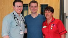 Matthew is pictured with Dr Padraig Headley (Consultant Physician) & Rhonda Marks (Ward Sister)