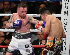 Explosive encounter: Carl Frampton takes on Leo Santa Cruz in Las Vegas in January. Photo: Ethan Miller/Getty Images