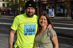 Press Eye - Belfast - Northern Ireland 4th May  2015 Deep RiverRock Belfast City Marathon, Northern Ireland. Michael and Lindsay Timberly takes part in the marathon. Picture by Russell Pritchard / Press Eye.