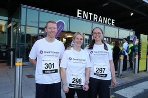 Press Eye - Belfast -  Northern Ireland - 24th June 2015 -  Chris O'Donnell, Vicki Campbell and Gemma Craig from Limavady Grammar School at the first ever Grant Thornton Runway Run at Belfast City Airport this evening. Picture by Kelvin Boyes / Press Eye.