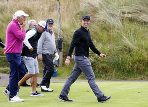 PressEye Belfast - Northern Ireland - 5th July 2017  Rory McIlroy, Dermot Desmond and JP McManus playing in the Pro-Am during the Dubai Duty Free Irish Open Golf Championship at Portstewart Golf Club. Picture by Peter Morrison/PressEye.com   Picture by Peter Morrison/PressEye.com