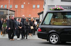Press Eye - Belfast - Northern Ireland - 9th June 2020 -    Friends and relatives pictured at the funeral of Kitty Neeson in Ballymena.  Catherine 'Kitty' Neeson, who was 94, passed away on Saturday at Slemish Nursing Home, the day before her son Liam's birthday.  Photo by Kelvin Boyes / Press Eye.