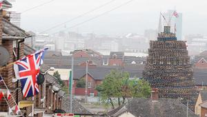 General view of the bonfire on Lanark Way off the Shankill Road in west Belfast.