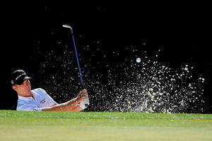 AUGUSTA, GEORGIA - APRIL 07:  Kevin Streelman of the United States plays his third shot from a bunker on the fifth hole during the first round of the 2016 Masters Tournament at Augusta National Golf Club on April 7, 2016 in Augusta, Georgia.  (Photo by David Cannon/Getty Images)