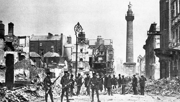 File photo dated 25/04/1916 of the scene from O'Connell Street in Dublin. PA