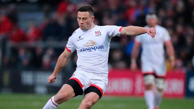 Ulster's John Cooney scores a penalty during the Heineken European Champions Cup pool three match at Kingspan Stadium, Belfast. Niall Carson/PA Wire