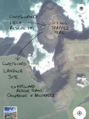 A map showing the position of the trapped group. Credit: Coleraine Coastguard.