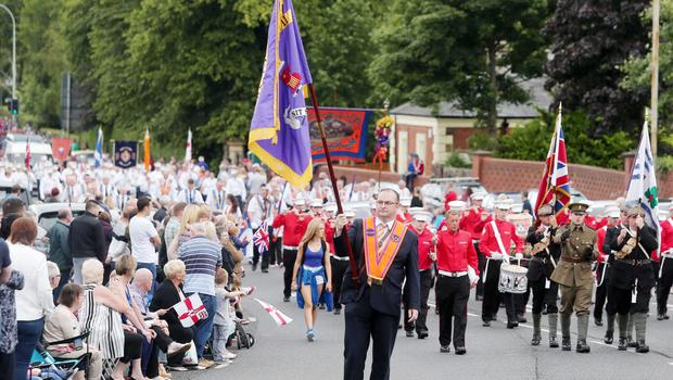Press Eye - Belfast -  Northern Ireland - 13th July  2015  Belfast's Orange Order annual 12th of July demonstration makes its way through the City Centre to the field at Malone House beside Shaws Bridge.  The parade makes its way up the Lisburn Road  Picture by Jonathan Porter/Press Eye