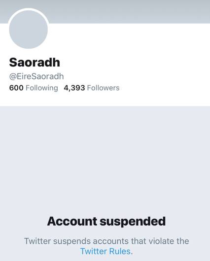 Saoradh's Twitter account has been suspended.