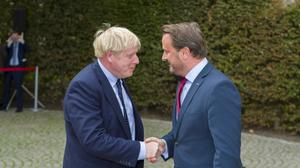 Prime Minister Boris Johnson and Prime Minister Xavier Bettel shake hands before their meeting at the prime minister's office in Luxembourg (Emmanuel Claude/Luxembourg Government/PA)