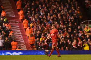 Liverpool's English midfielder Steven Gerrard leaves the field as he is substituted during the English Premier League football match between Liverpool and Tottenham Hotspur at the Anfield stadium in Liverpool, northwest England, on February 10, 2015
