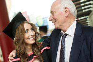 Marie-Clare Duncan from Derry~Londonderry graduated with the degree of BDes (Design for Creative Technologies). She is pictured here with dad Padraig. (Photo: Nigel McDowell/Ulster University)