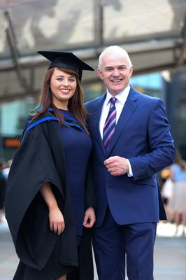 Graduating from Ulster University today with a First class honour Degree in Architecture is Laura McClorey with her Dad UTV's Frank Mitchell. Picture John Murphy Aurora Photographic Agency.