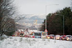 Rush hour traffic on the Ballygowan Road in east Belfast after snow fell across Northern Ireland overnight.  - 17th January 2018