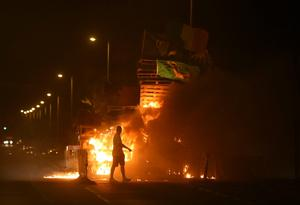 "A bonfire is lit on the Shankill Road in Belfast on the ""Eleventh night"" to usher in the Twelfth commemorations. PA"
