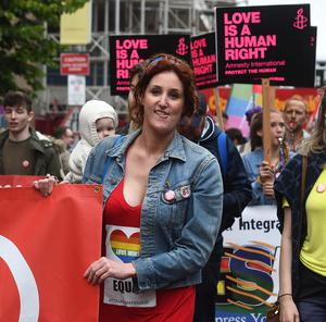 PACEMAKER BELFAST  1/7/2017 Hollyoaks and The Fall actress Bronagh Waugh as Thousands take part in a marriage equality march in Belfast on  Saturday from Writers square to Belfast City Hall. The march has been organised by the Love Equality campaign which is led by the Rainbow Project, Amnesty International, Irish Congress of Trade Unions, Cara-Friend, NUS-USI and HereNI.  Campaigners are calling for a law change in line with the UK and Ireland. Photo Colm Lenaghan/Pacemaker Press