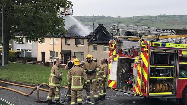Homes destroyed in Ballyduff fire. Pic Pacemaker.